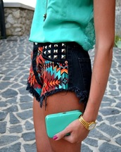 shorts,black,teal,studs,summer,aztec,clothes,high waisted,orange,High waisted shorts,tribal pattern,denim shorts,high waisted denim shorts,blue,silver studs,jewels,tribal high waist shorts,studded shorts,gold watch,bright,shirt,colorful,pattern,studded,grunge