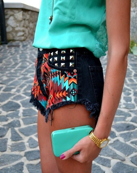 pattern colourful studs shorts black teal studs summer outfits aztec clothes highwaisted jewels tribal high waist shorts studded shorts gold watch