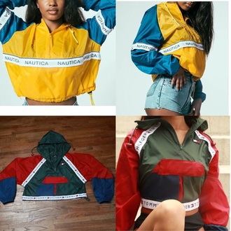 jacket nautica tommy hilfiger cropped hoodie windbreaker colorful colorblock crop cropped tumblr tumblr outfit tumblr girl tumblr clothes instagram fall outfits spring hoodie fashion trendy long sleeves olive green clothes tommy hilfiger crop top blue yellow logo red green tommy hilfiger jacket multicolor sweater