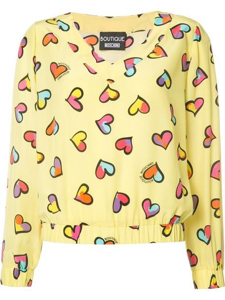 blouse heart women print silk yellow orange top