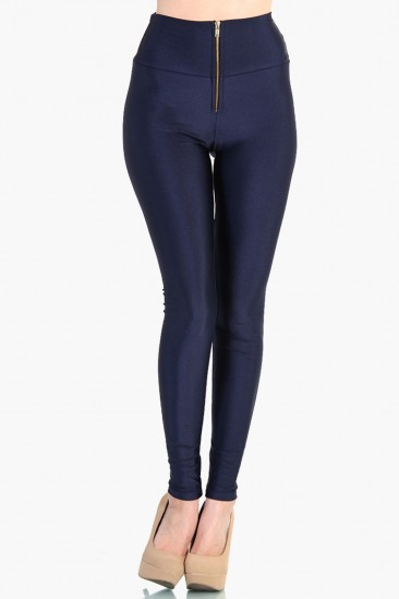 LoveMelrose.com From Harry & Molly | HIGH WAIST ZIPPER FRONT LEGGINGS - SHINY NYLON TRICOT - Navy Blue