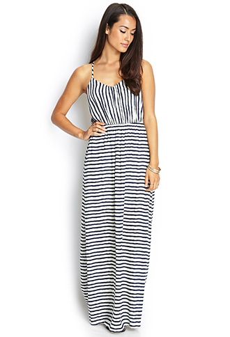 Striped Cutout Maxi Dress | FOREVER 21 - 2000062073