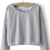 Grey Round Neck Long Sleeve Crop Sweatshirt - Sheinside.com