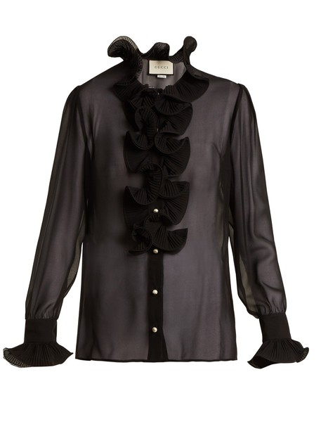 gucci blouse sheer ruffle silk black top