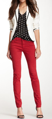 jeans,red jeans,top,black top,polka dots,blazer,white blazer,sandals,black sandals,office outfits