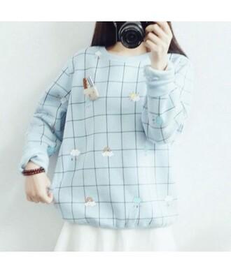 sweater it girl shop baby blue checkered kawaii japan vintage pastel instagram kawaii grunge pretty