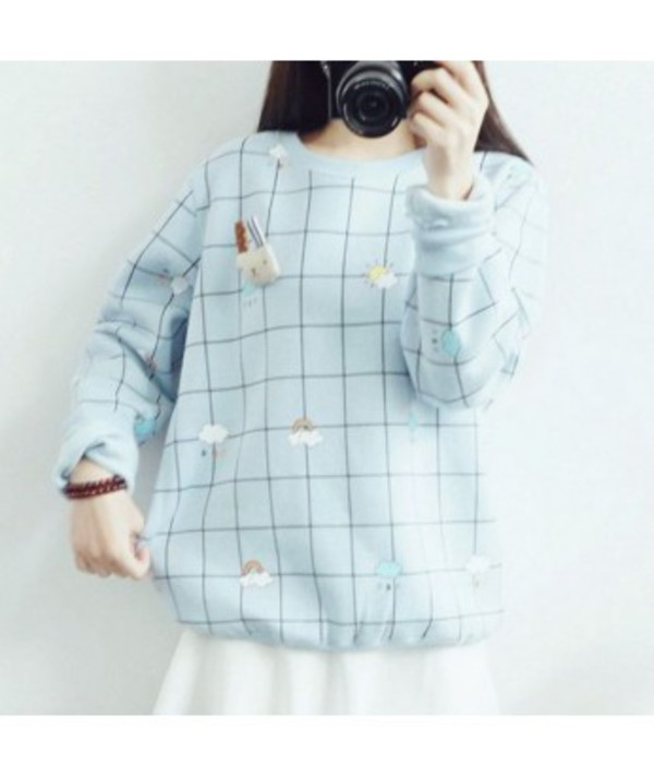 Sweater: it girl shop, baby blue, checkered, kawaii, japan ...