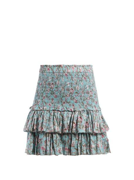Isabel Marant etoile skirt ruffle floral print blue