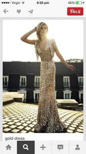 dress,gold,gold sequins,evening dress,sleeves,v neck