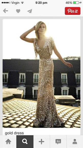 dress evening dress gold gold sequins sleeves v-neck