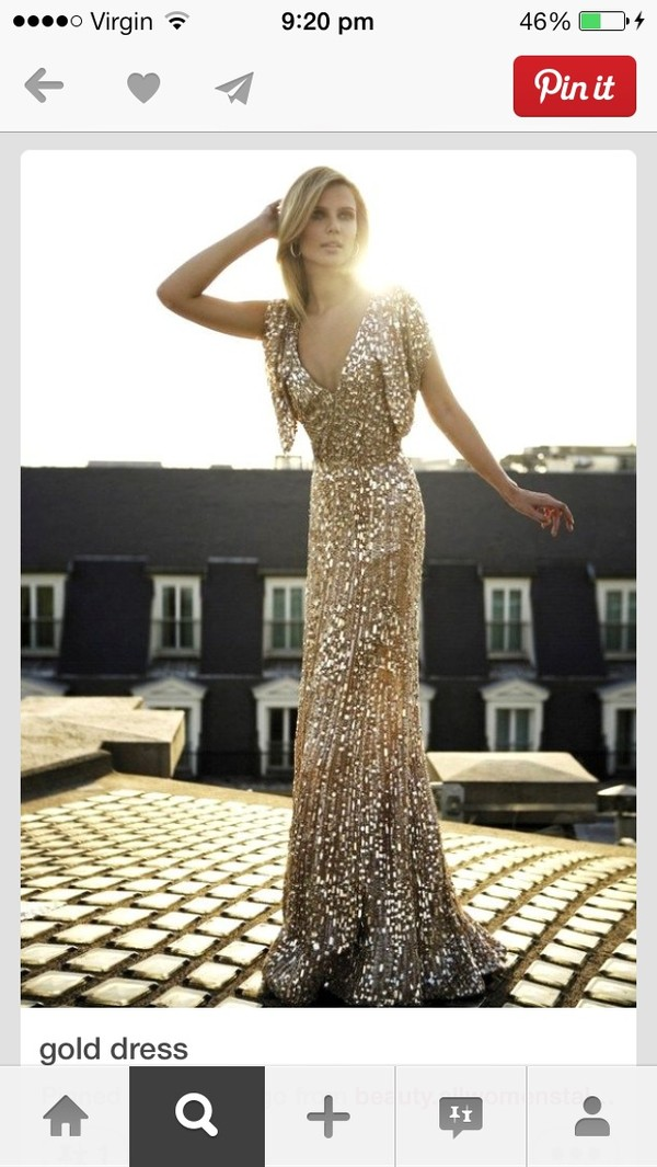 dress gold gold sequins evening dress sleeves v neck