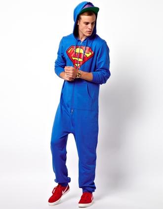 sweater blue red asos largesize superheroes teenagers onesie superman