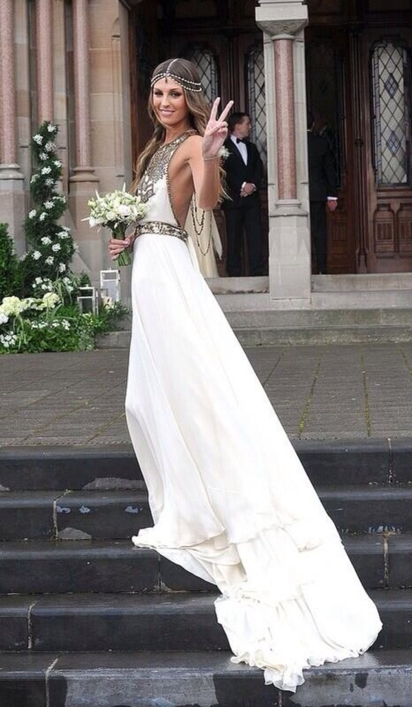 Dress: bohemian, wedding dress, jewels, long prom dress, white ...
