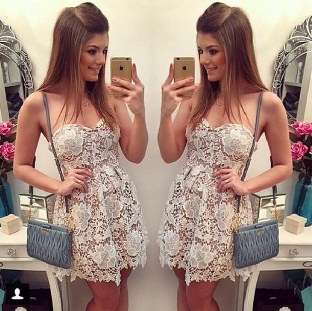 dress white  strapless  lace  bodycon  mini  dress