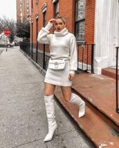 bag,gucci bag,belt bag,white bag,knee high boots,white boots,high heels boots,white sweater,turtleneck dress,dress,white dress,over the knee boots,heel boots