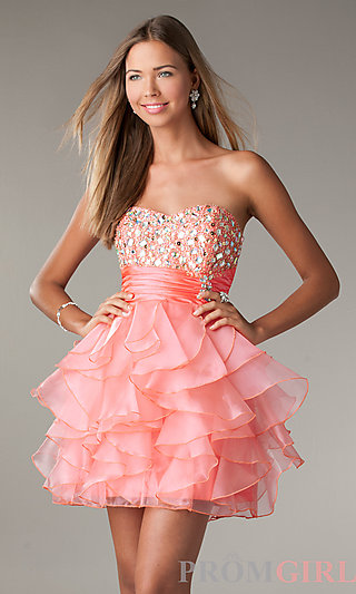 Strapless Party Dress, LA Glo Short Ruffled Prom Dress- PromGirl