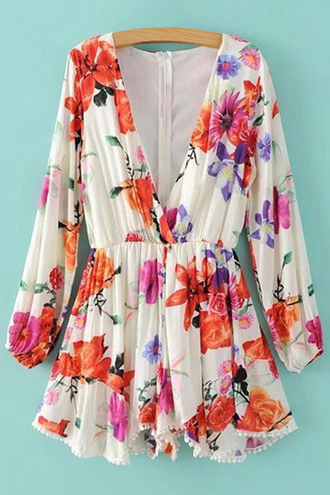 romper floral summer cute girly spring long sleeves trendy colorful fashion