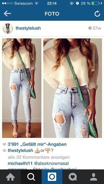 blouse ripped jeans high waisted jeans jeans