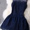 Blue party dress - sheer shoulders lace embroidery sleeveless | ustrendy