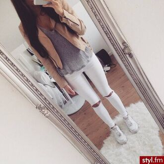 jacket suede sand color pretty jeans leather jacket ripped jeans nike air force 1 white jeans beige jacket grey t-shirt top white ripped jeans