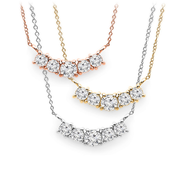 Ladies 5 stone diamond pendant aloadofball Gallery