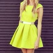 dress,neon,yellow,cute,pretty,belt,yellow dress,yellow summer dress,party dress,cute dress
