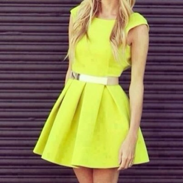 dress neon yellow cute pretty belt yellow dress yellow summer dress party dress cute dress