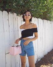shorts,crop tops,black and white crop top,sunglasses,bag,denim,denim shorts