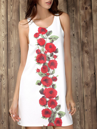 dress floral fashion style white red summer spring roses dressfo