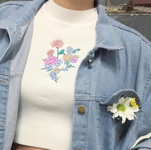 top white white top floral top girly cute floral aesthetic