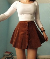 top,white top,white crop tops,button up skirt,shirt,skirt,brown,button up,suede skirt