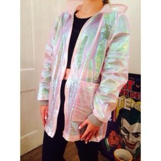 jacket pink windbreaker holographic