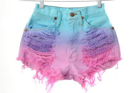 OMBRE Tri Tone Dip Dyed Denim Wrangler High Waist Cut Off Shorts XXS ($65.00) - Svpply