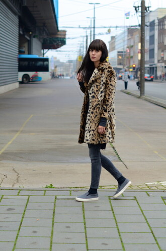 lovely by lucy blogger jeans animal print vans fur leopard print winter coat leopard print fur coat grey jeans slip on shoes grey shoes winter outfits winter look winter coat printed fur coat