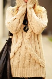 sweater,off-white,beige,cable,knit,jersey,cool,winter outfits,clothes