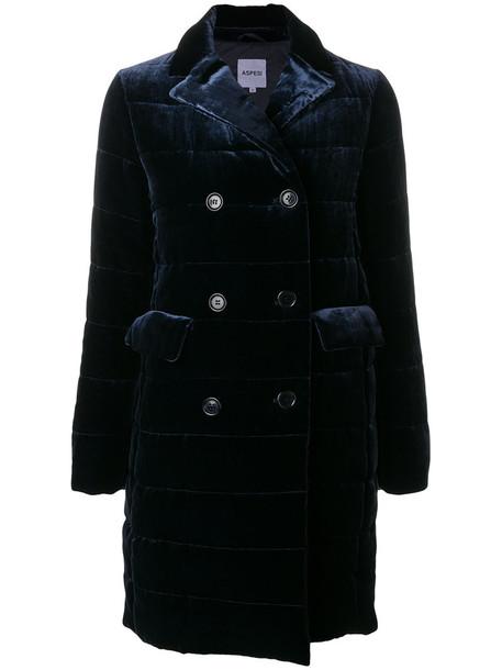 coat double breasted women blue silk velvet