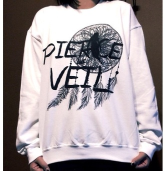 sweater jumper band pierce the veil white sweater printed dream catcher print dreamcatcher