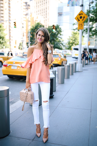 southern curls and pearls blogger shoes bag jewels make-up white pants white jeans ripped jeans chanel off the shoulder pink top heels lace up heels chanel bag cut out shoulder ruffled top white ripped jeans nude bag pumps