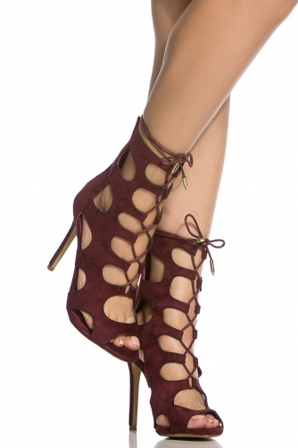 2f71d115c0 Wine Faux Suede Cut Out Lace Up Heels @ Cicihot Heel Shoes online store  sales:Stiletto Heel Shoes,High ...
