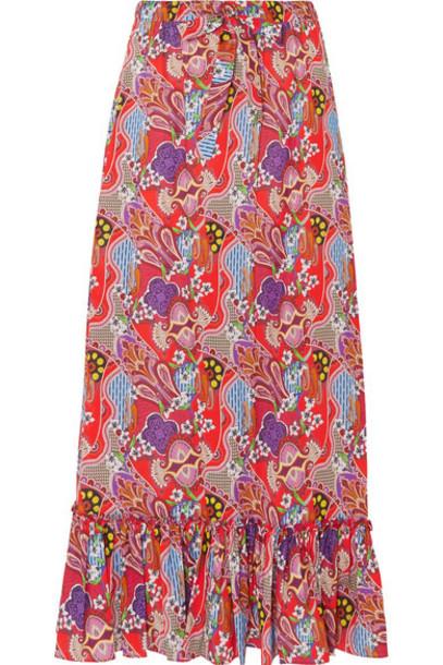 ETRO skirt maxi skirt maxi cotton red