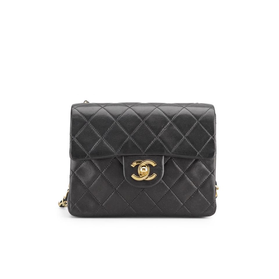 Chanel Vintage Leather Black Quilted Mini Shoulder Bag ...