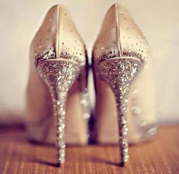 sparkle champagne glitter high heels