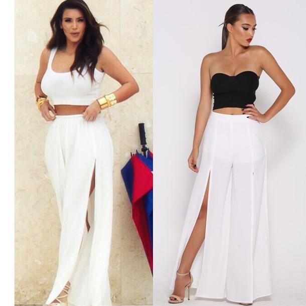 skirt pants kim kardashian kardashians white wide-leg pants summer outfits