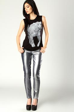 Chloe metallic wash jeans at boohoo.com