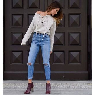 sweater tumblr nude sweater lace up jumper lace up jeans denim blue jeans ripped jeans cropped jeans boots burgundy ankle boots high heels boots thick heel block heels fall outfits