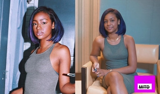 dress grey dress ribbed dress midi dress racerback dress pretty tumblr gold necklace gold chain purple purple hair purple unicorn short hair bob weave brown skin natural beautiful nails earrings melanin sleeveless dress vest dress sleeveless justineskye justine skye tumblr girl olive dress olive green dress