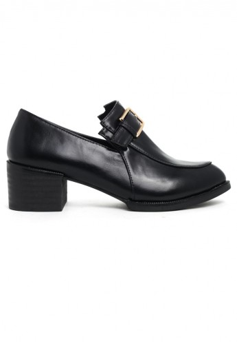Buckle Decor Pointed Loafer Shoes - Retro, Indie and Unique Fashion