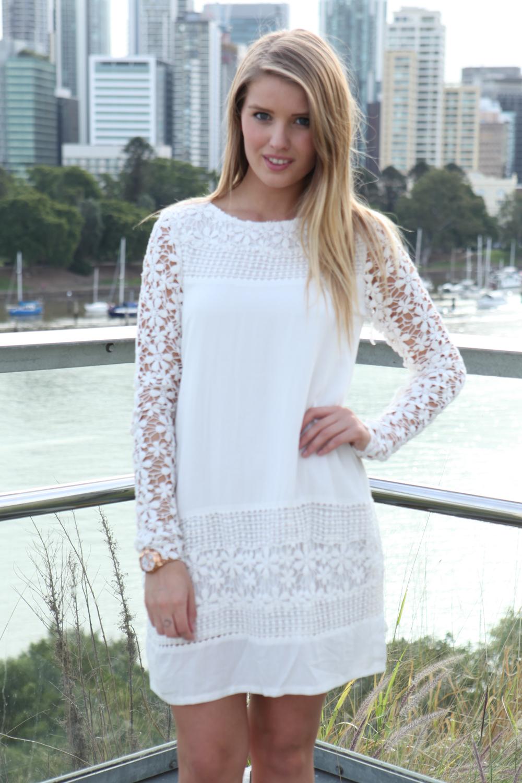 white floral flowy dress