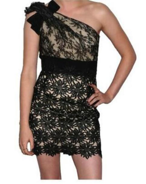 dress bow dress vintage dress lace dress mini dress one shoulder