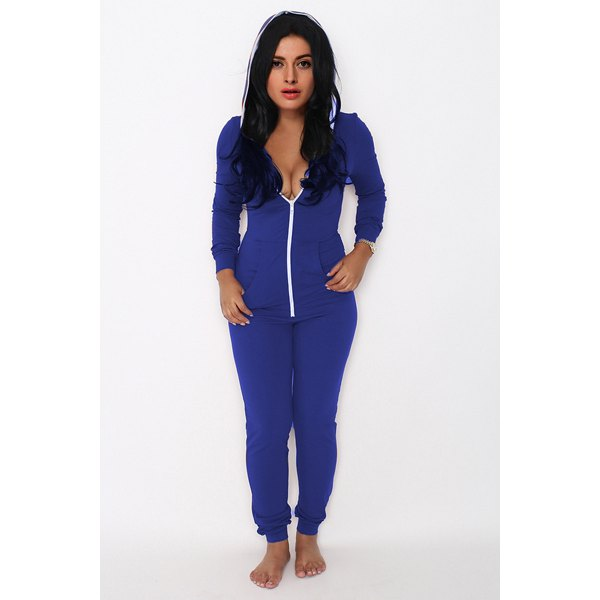 Wholesale Trendy Hooded Long Sleeve Solid Color Women's Zip Up Jumpsuit (BLUE,M), Jumpsuits - Rosewholesale.com
